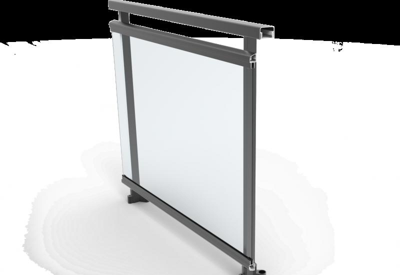 Barandilla de vidrio con guarnición junquillo