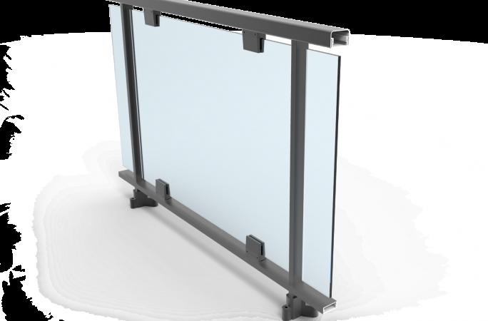 Barandilla de vidrio con pinzas